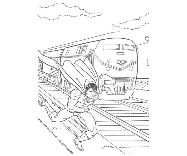Superman Running Coloring Page