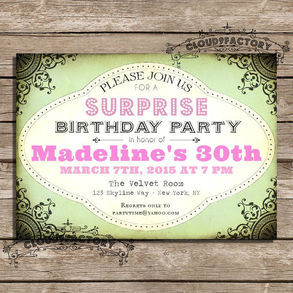 Surprise Birthday Party Invitation Design