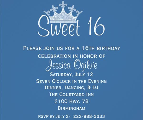 Sweet 16 Elegant Invitation