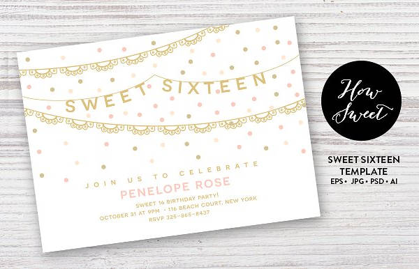 Sweet Sixteen Party Invitation Card Design