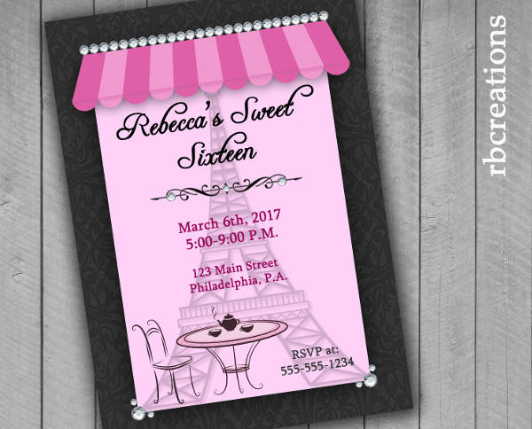 Sweet Sixteen Party Invitation Design