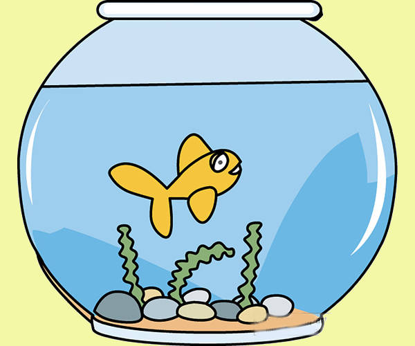 Swimming Fish Bowl Clipart