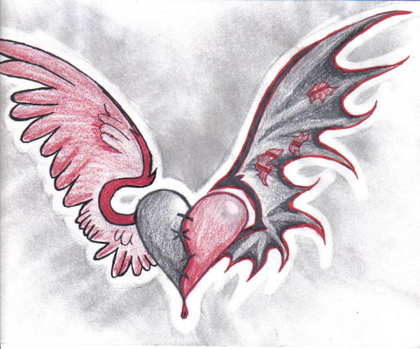 Tattoo Drawing of Hearts