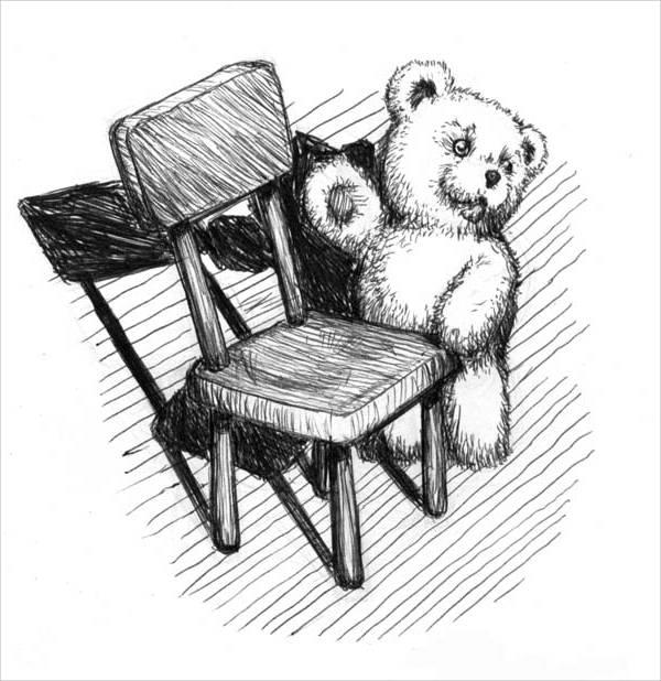 Teddy Bear Chair Drawing