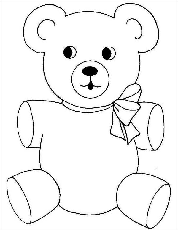 printable coloring pages of teddy bears | 9+ Teddy Bear Coloring Pages - JPG, Ai Illustrator Download