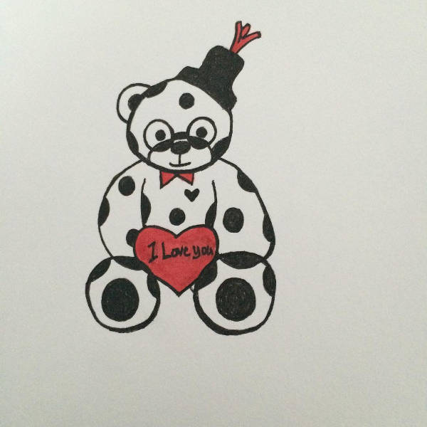 Teddy Bear Holding a Love Heart Drawing