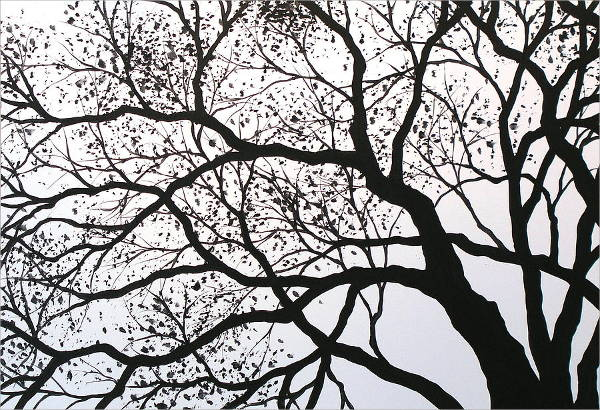 Tree Black and White Painting
