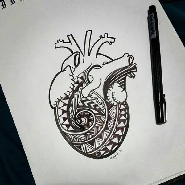 Tribal Heart Drawing