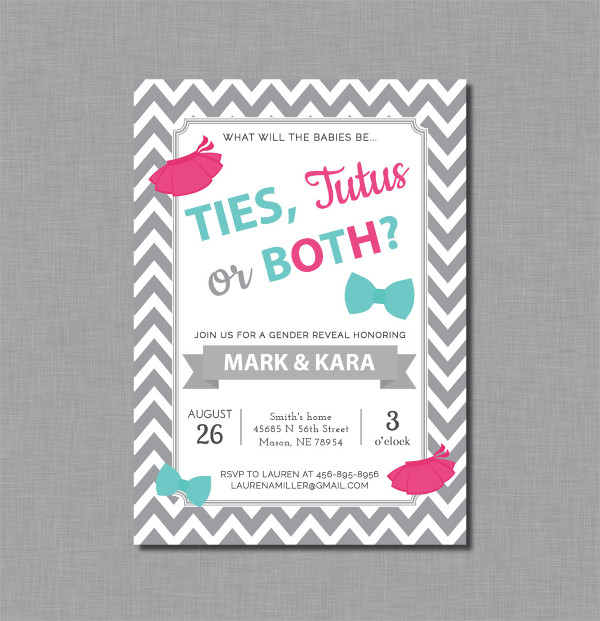 Twin Gender Reveal Invitation