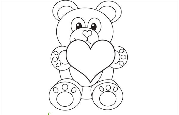 valentine bear coloring page for preschool