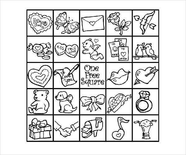 Valentine Bingo Coloring Page