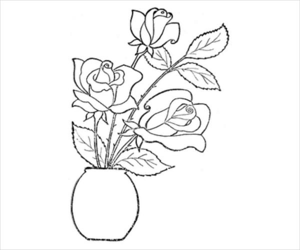 Valentine Roses Coloring Page