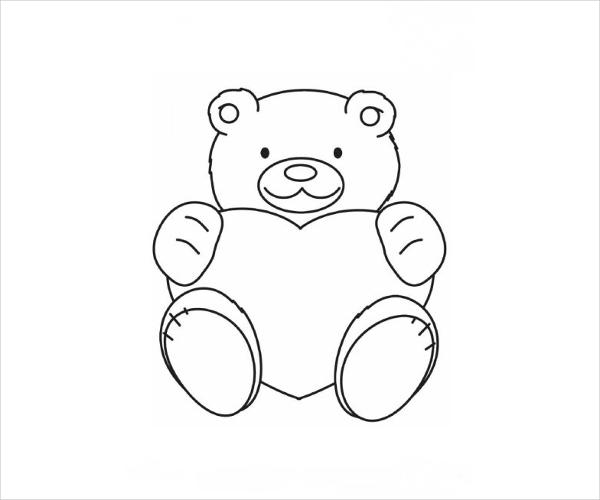 Valentine Teddy Coloring Page