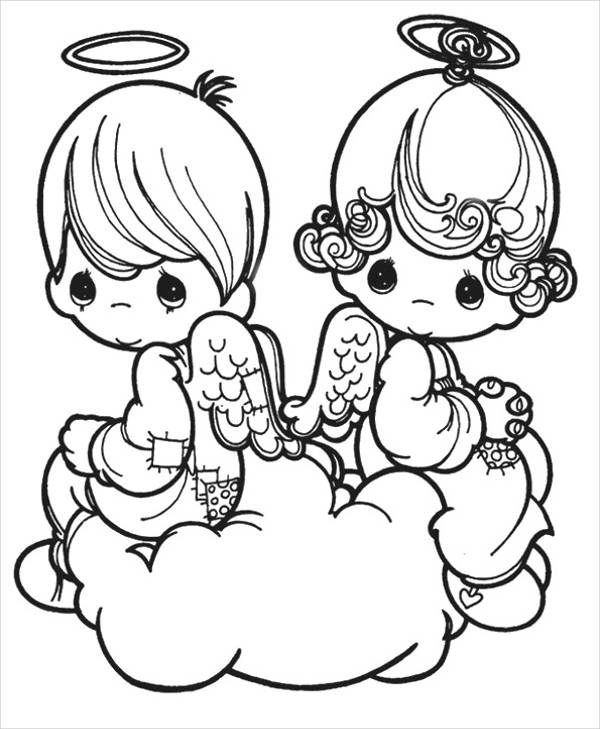 Valentines Angels Coloring Page