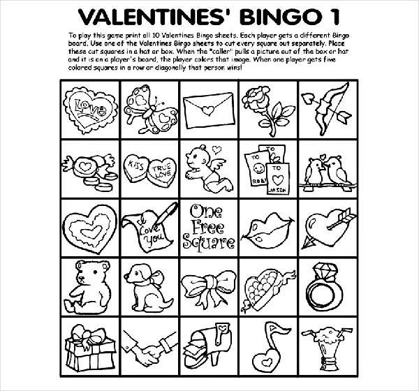 valentines day bingo coloring page