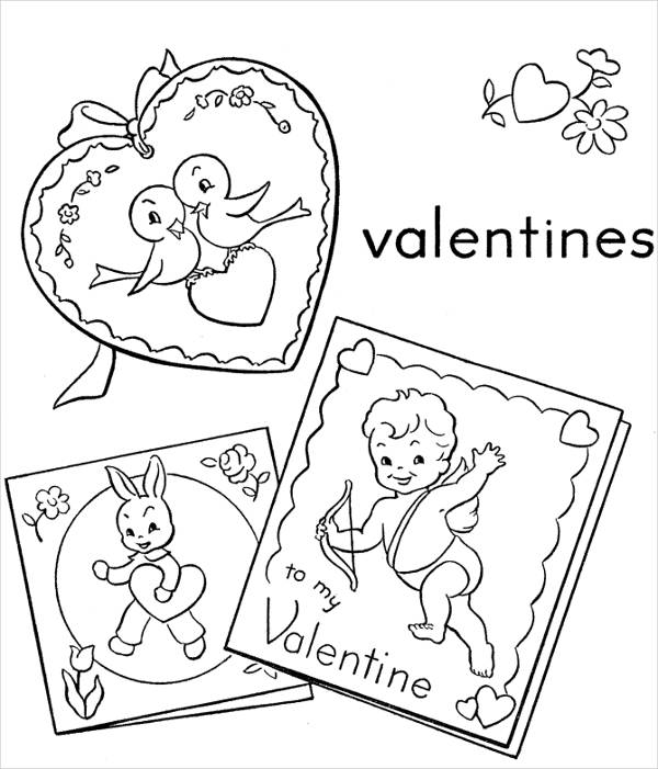 Valentines Day Cards Coloring Page