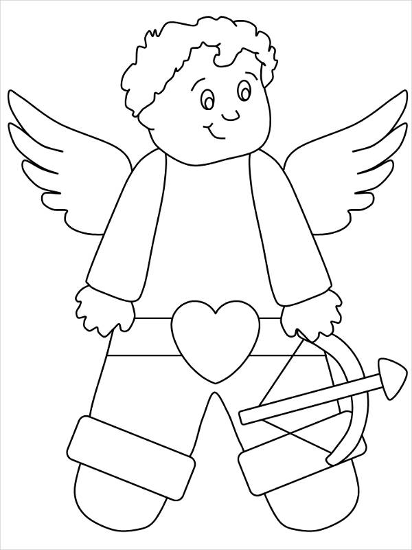 Valentines Day Cupid Coloring Page