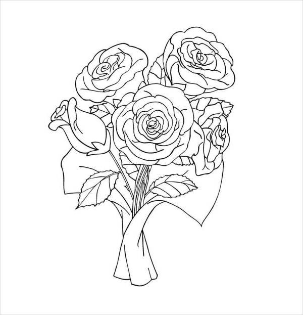 Valentine's Day Roses Printable Coloring Page