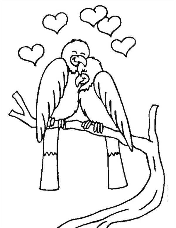 Valentines Day love Birds Coloring Page