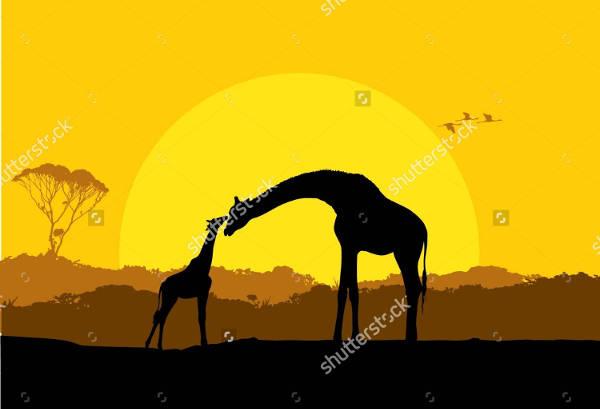 Vector Giraffe Silhouette