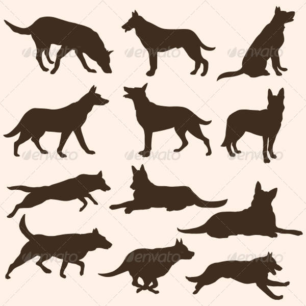 vector set of dog silhouette