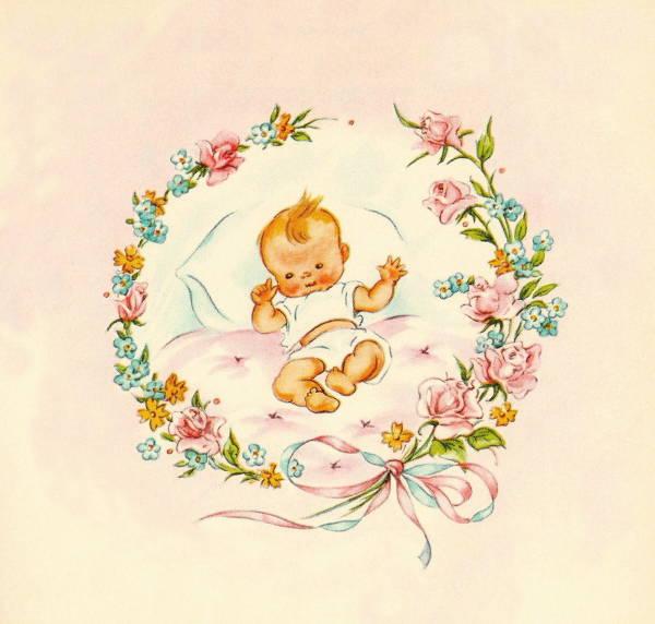 vintage baby clip art