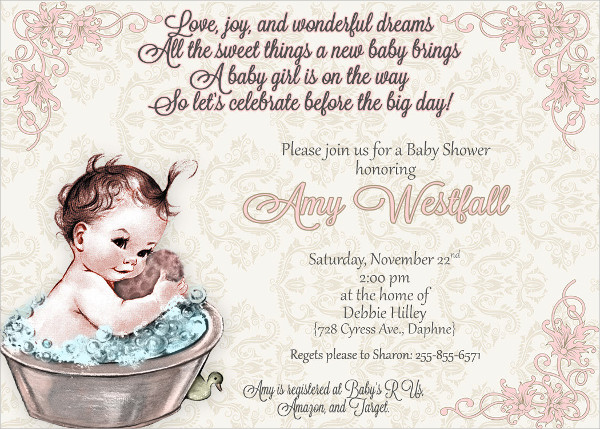 Vintage Baby Invitation