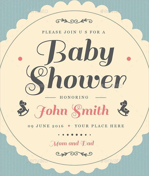 Vintage Baby Shower Invitation Card