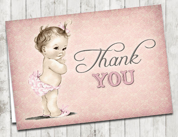 Vintage Baby Thank You Card