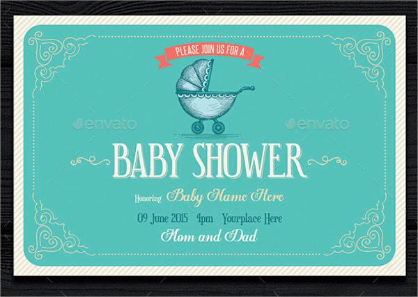 Vintage Chevron Baby Shower Invitation