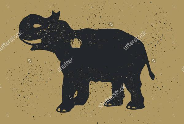 Vintage Elephant Silhouette