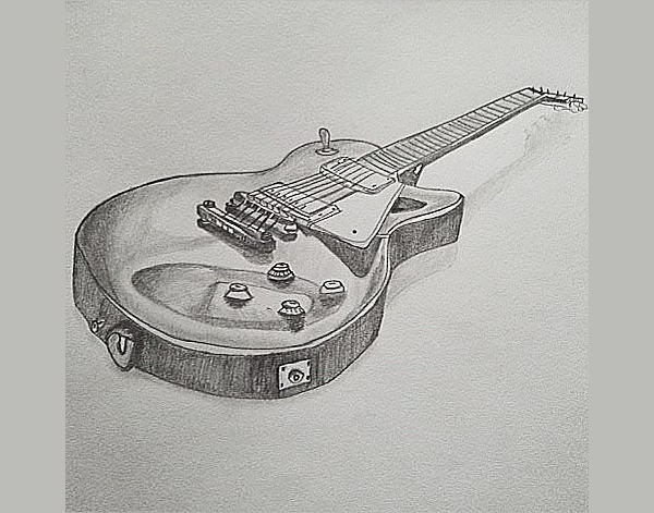 vintage guitar drawing