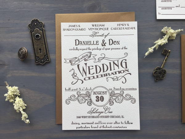 Vintage Letterpress Wedding Invitation