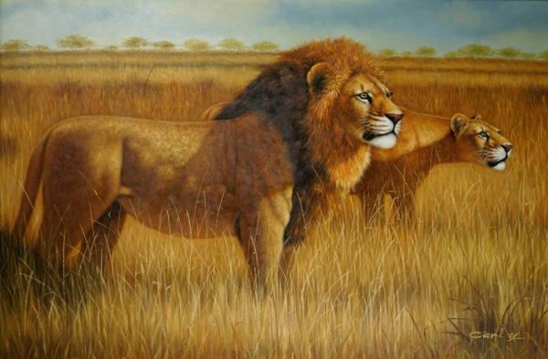 Vintage Lion Painting