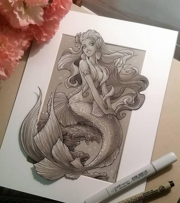Vintage Mermaid Drawing