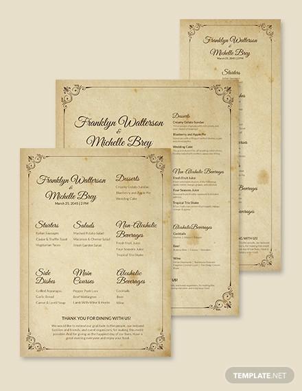vintage wedding menu template