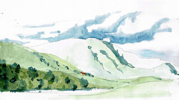 Watercolor Mountain Drawing