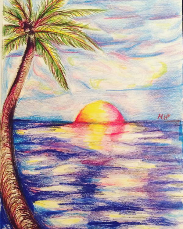 Watercolor Sunset Drawing