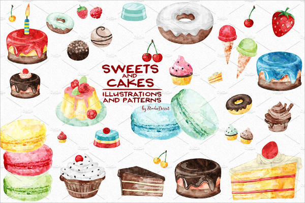 Watercolor Sweets Clipart