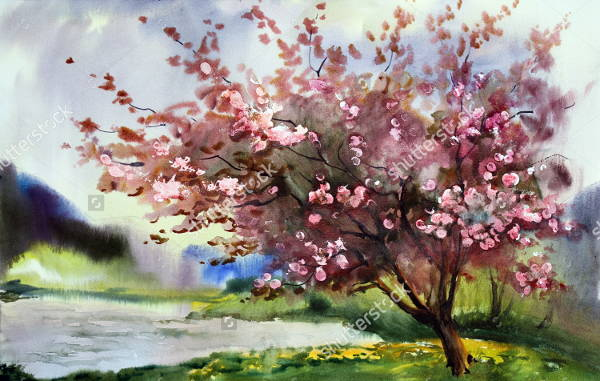 Watercolor Tree Painting