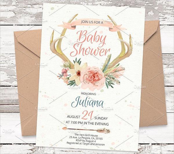 Watercolor Vintage Baby Shower Invitation