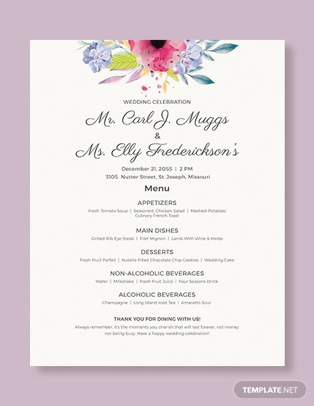 wedding flyer menu template