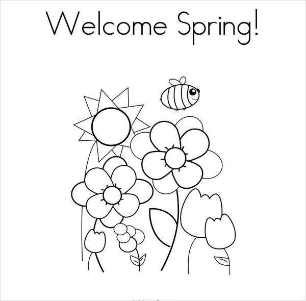 welcome spring coloring page1