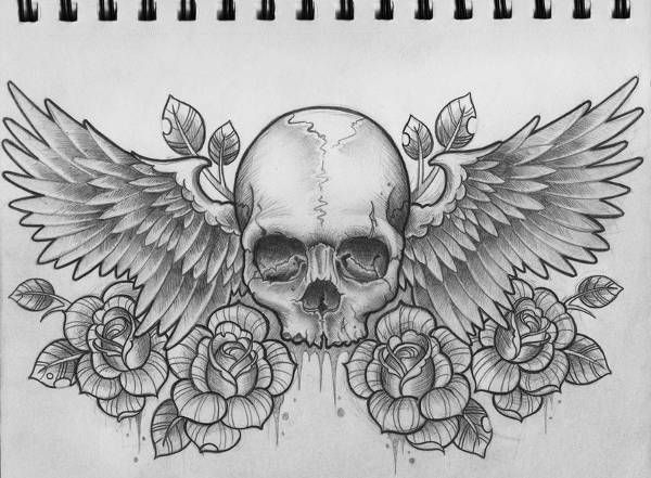 Wings with Skull Design