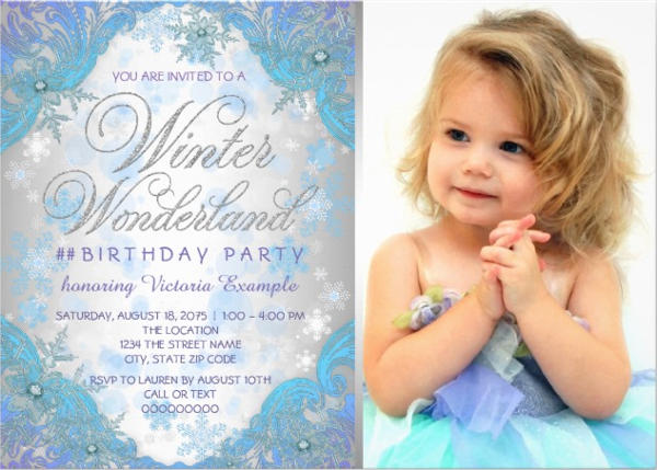 Winter Frozen Birthday Invitation