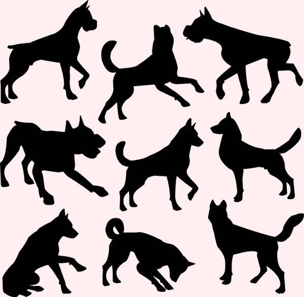 highly editable dog silhouettes