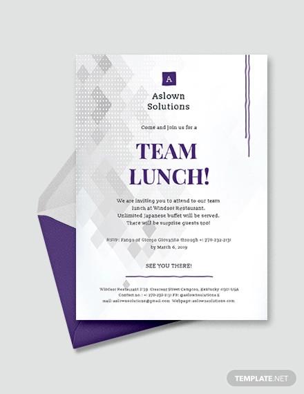 team lunch invitation design