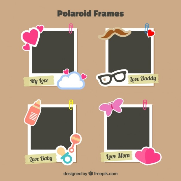 Polaroid Frames with Cute Stickers