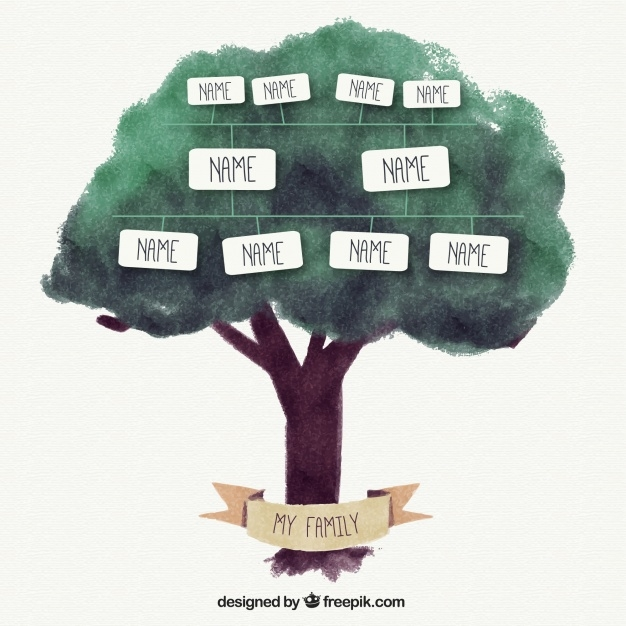 Simple Family Tree in Watercolor Style