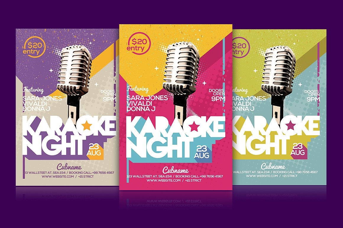 Colorful & Fun Karaoke Night Flyer